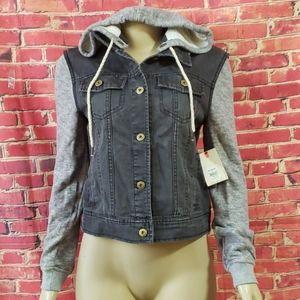 Billabong Distressed hooded jeans Women's jacket M